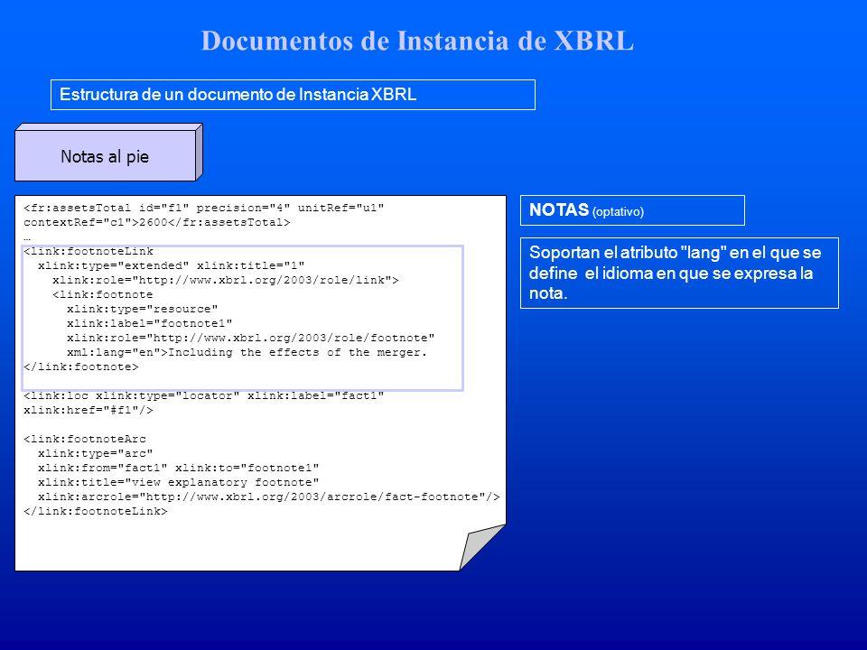 Documentos de Instancia de XBRL Estructura de un documento de Instancia XBRL NOTAS (optativo) Soportan el atributo lang en el que se define el idioma en que se expresa la nota.