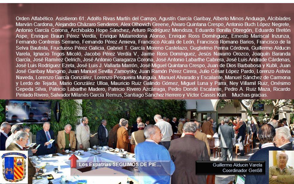 Guillermo Alducin Varela Coordinador Gen58 Los Expatrias SEGUIMOS DE PIE… Orden Alfabético.