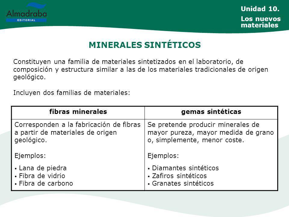 MINERALES SINTÉTICOS Constituyen una familia de materiales sintetizados en el laboratorio, de composición y estructura similar a las de los materiales tradicionales de origen geológico.
