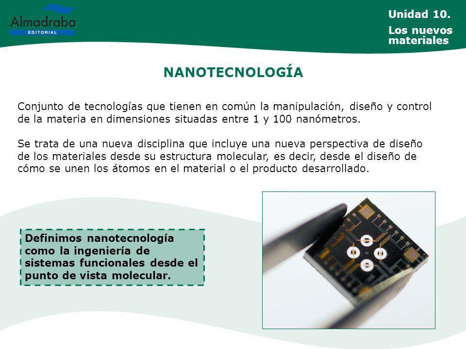 NANOTECNOLOGÍA Conjunto de tecnologías que tienen en común la manipulación, diseño y control de la materia en dimensiones situadas entre 1 y 100 nanómetros.