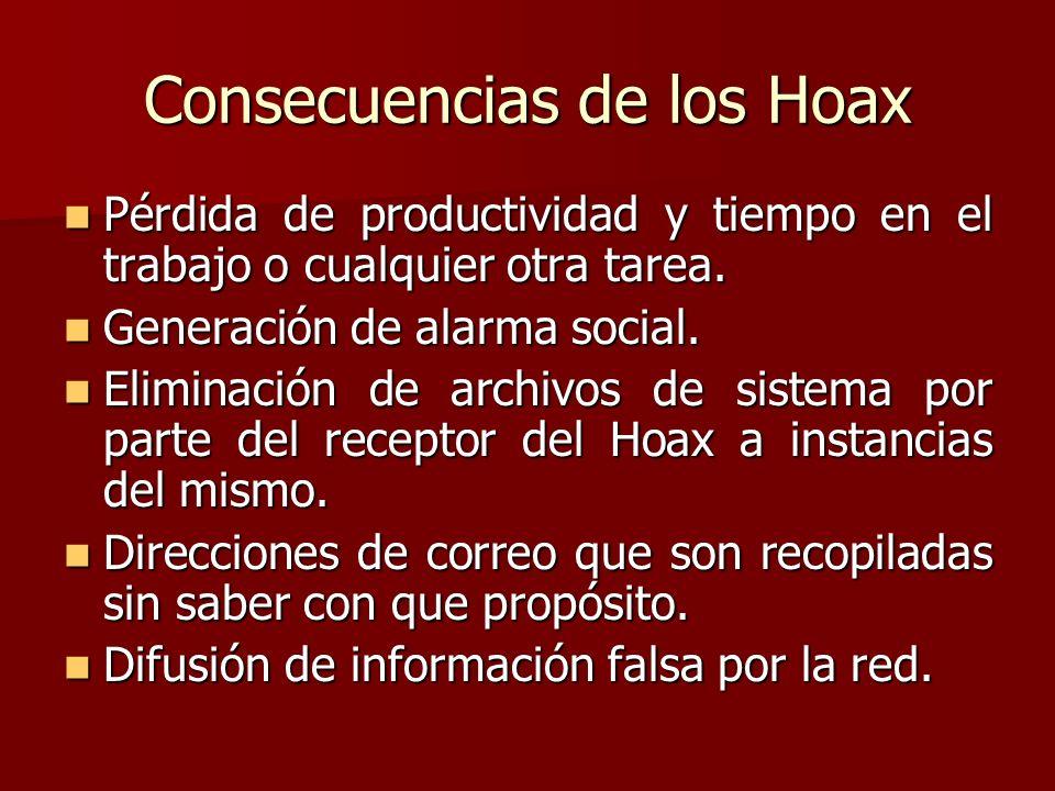 Consecuencias de los Hoax Pérdida de productividad y tiempo en el trabajo o cualquier otra tarea. Pérdida de productividad y tiempo en el trabajo o cu