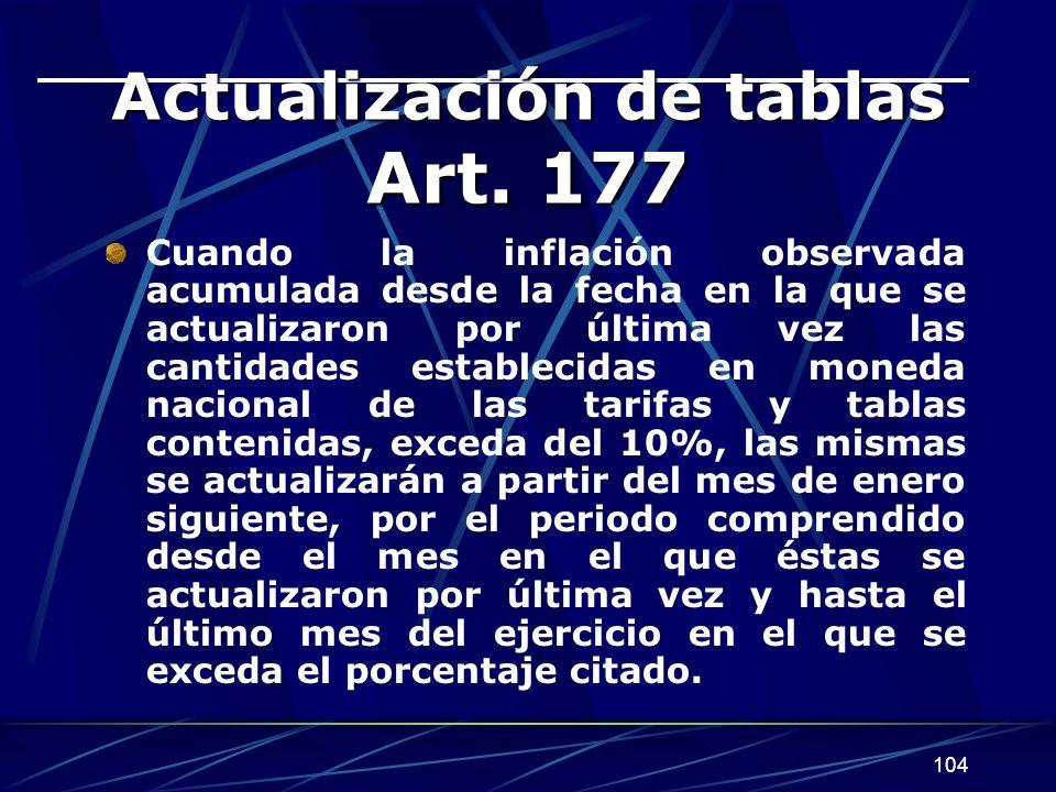 104 Actualización de tablas Art. 177 Cuando la inflación observada acumulada desde la fecha en la que se actualizaron por última vez las cantidades es
