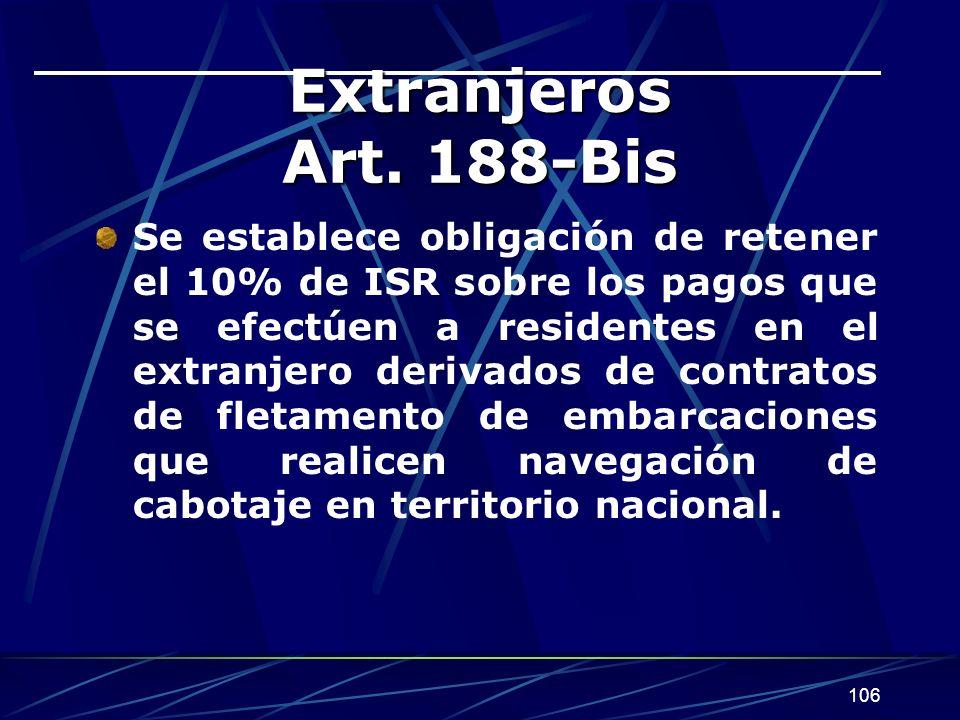 106 Extranjeros Art. 188-Bis Se establece obligación de retener el 10% de ISR sobre los pagos que se efectúen a residentes en el extranjero derivados