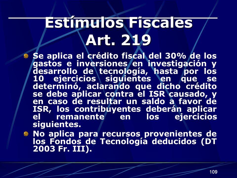 109 Estímulos Fiscales Art.