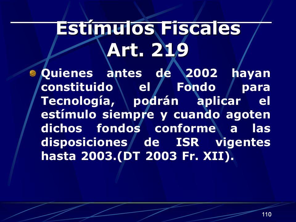 110 Estímulos Fiscales Art.