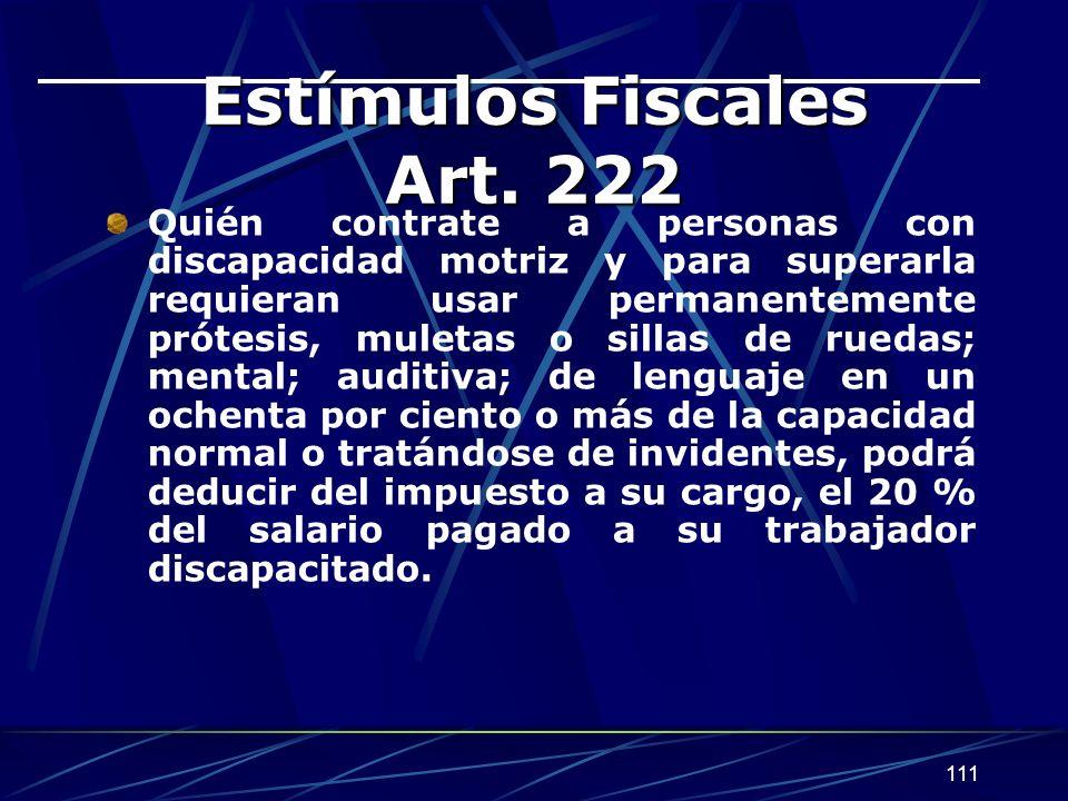 111 Estímulos Fiscales Art.