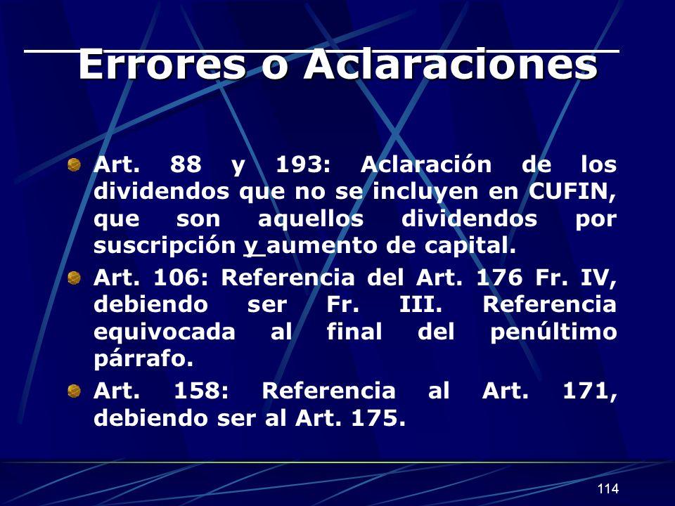 114 Errores o Aclaraciones Art.