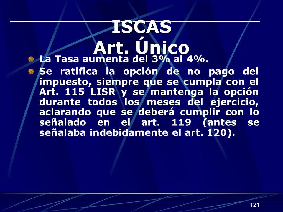 121 ISCAS Art. Único La Tasa aumenta del 3% al 4%. Se ratifica la opción de no pago del impuesto, siempre que se cumpla con el Art. 115 LISR y se mant