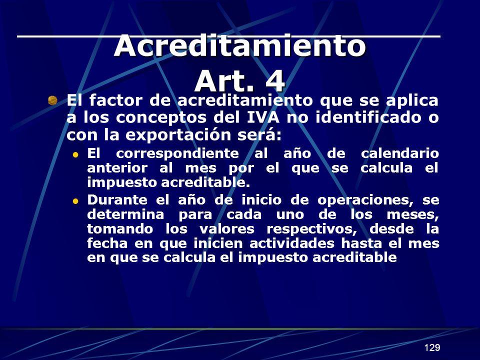 129 Acreditamiento Art. 4 El factor de acreditamiento que se aplica a los conceptos del IVA no identificado o con la exportación será: El correspondie