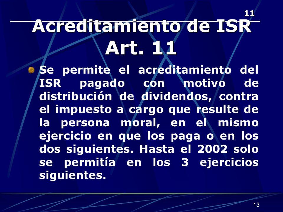 13 11 Acreditamiento de ISR Art.