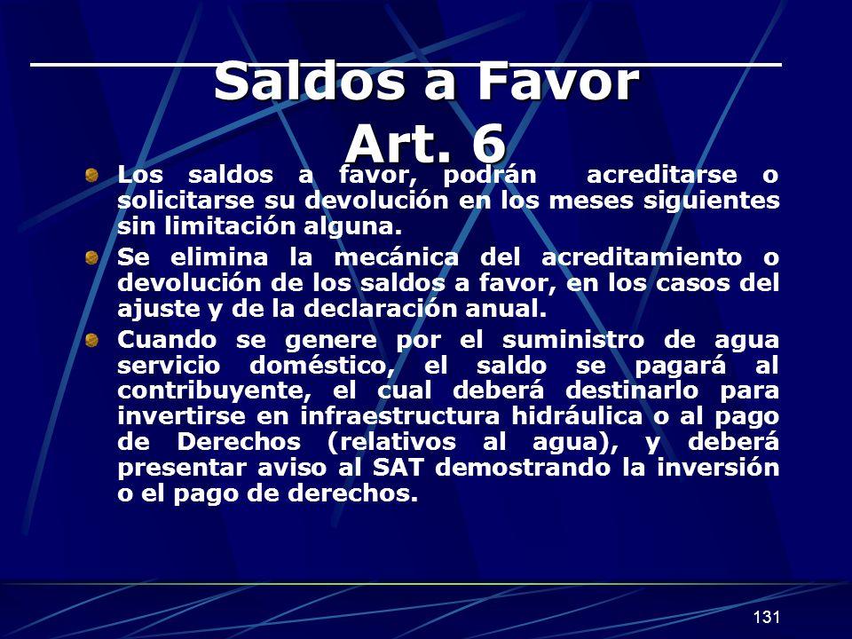 131 Saldos a Favor Art. 6 Los saldos a favor, podrán acreditarse o solicitarse su devolución en los meses siguientes sin limitación alguna. Se elimina
