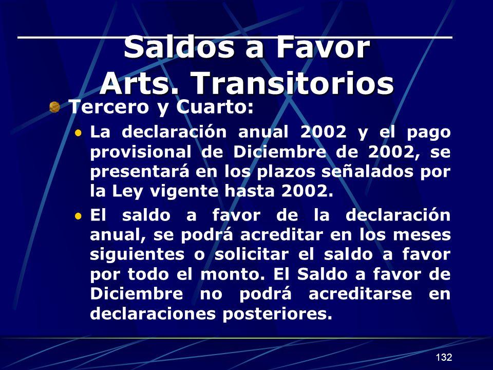 132 Saldos a Favor Arts.