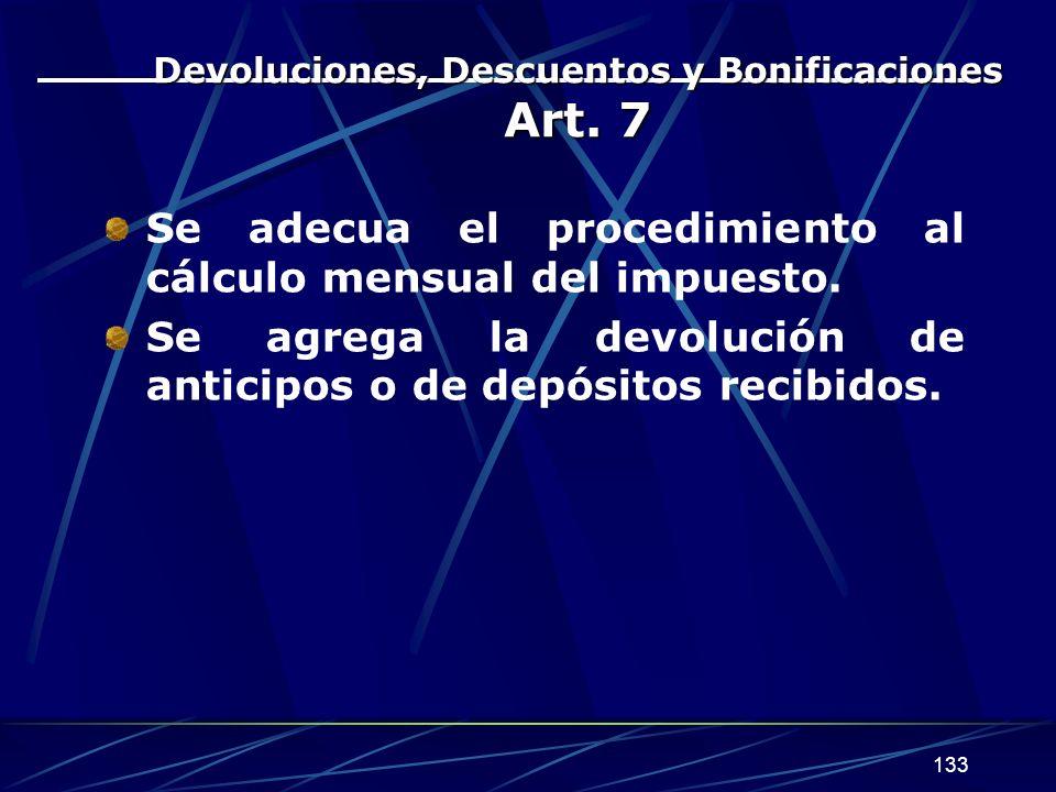 133 Devoluciones, Descuentos y Bonificaciones Art.