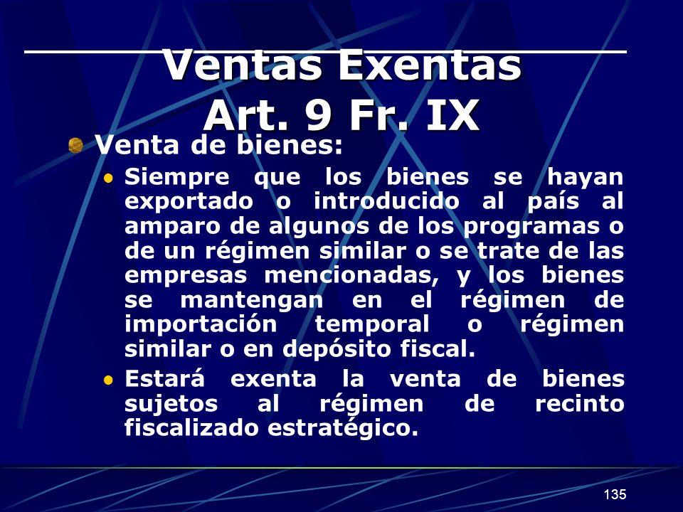 135 Ventas Exentas Art.9 Fr.