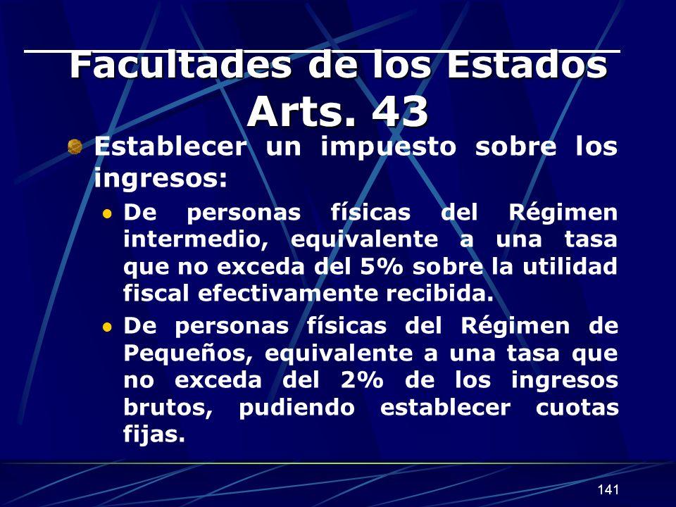 141 Facultades de los Estados Arts.