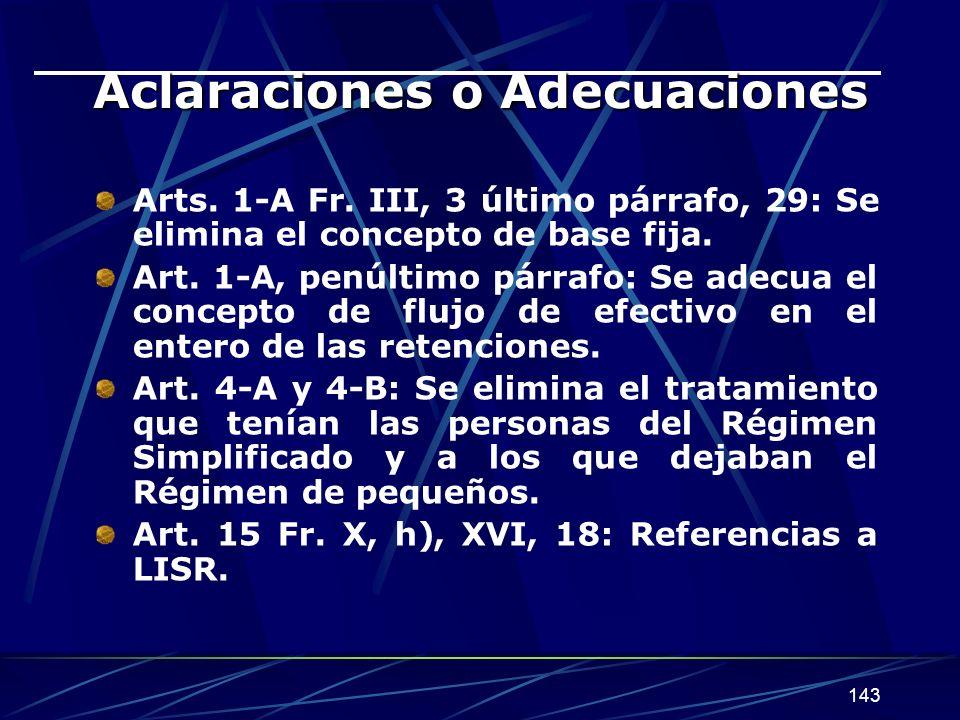 143 Aclaraciones o Adecuaciones Arts.1-A Fr.