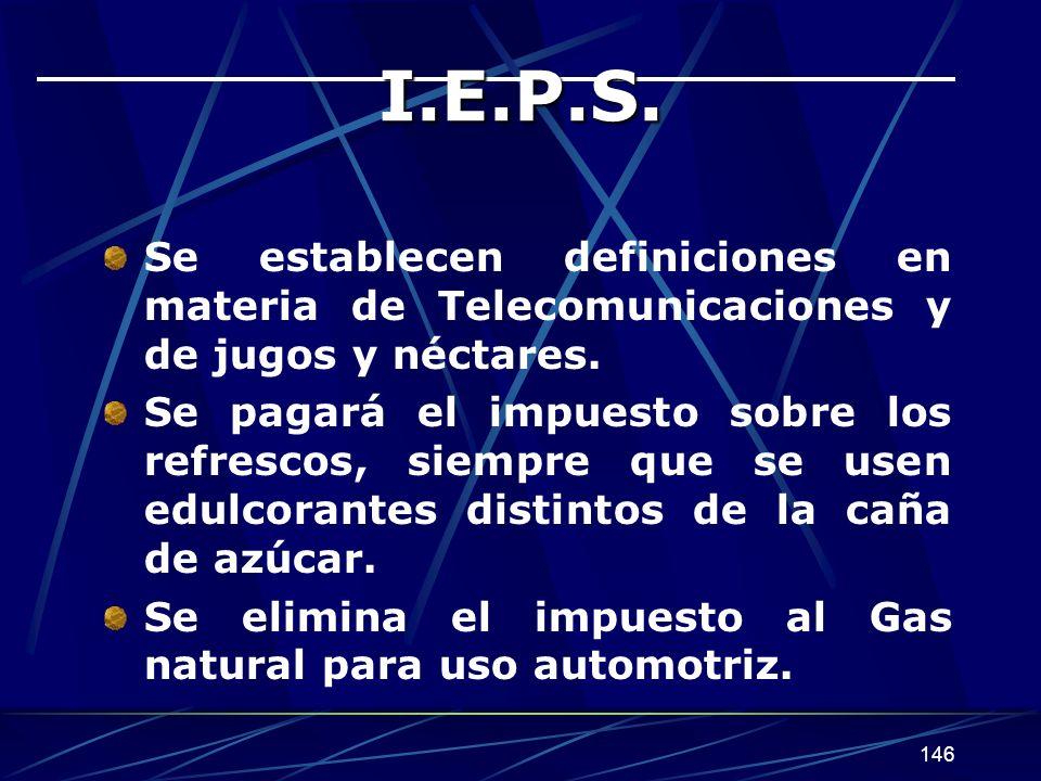 146 I.E.P.S. Se establecen definiciones en materia de Telecomunicaciones y de jugos y néctares. Se pagará el impuesto sobre los refrescos, siempre que