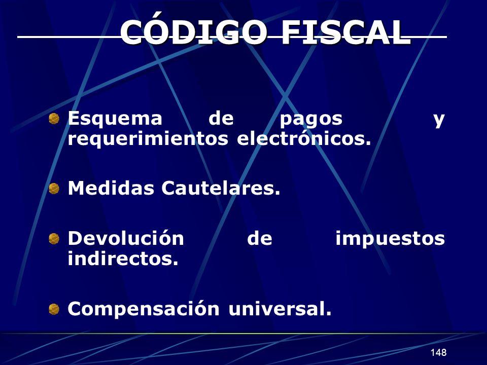 148 CÓDIGO FISCAL Esquema de pagos y requerimientos electrónicos.