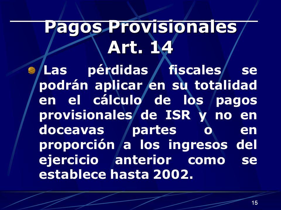 15 Pagos Provisionales Art.