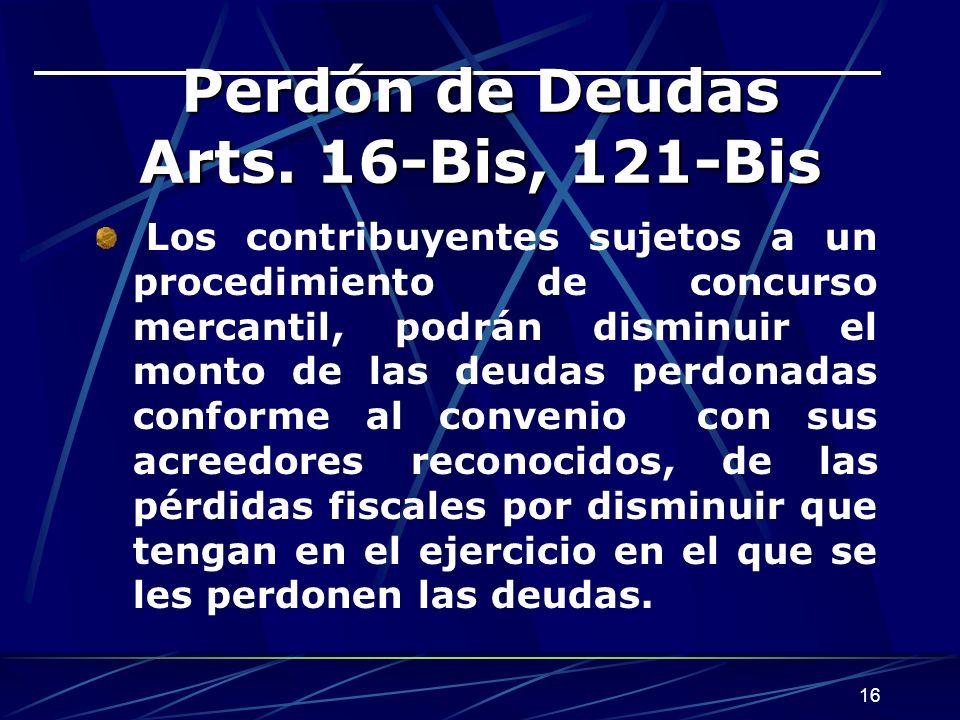 16 Perdón de Deudas Arts.