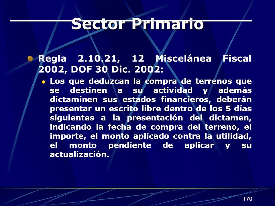 170 Sector Primario Regla 2.10.21, 12 Miscelánea Fiscal 2002, DOF 30 Dic. 2002: Los que deduzcan la compra de terrenos que se destinen a su actividad