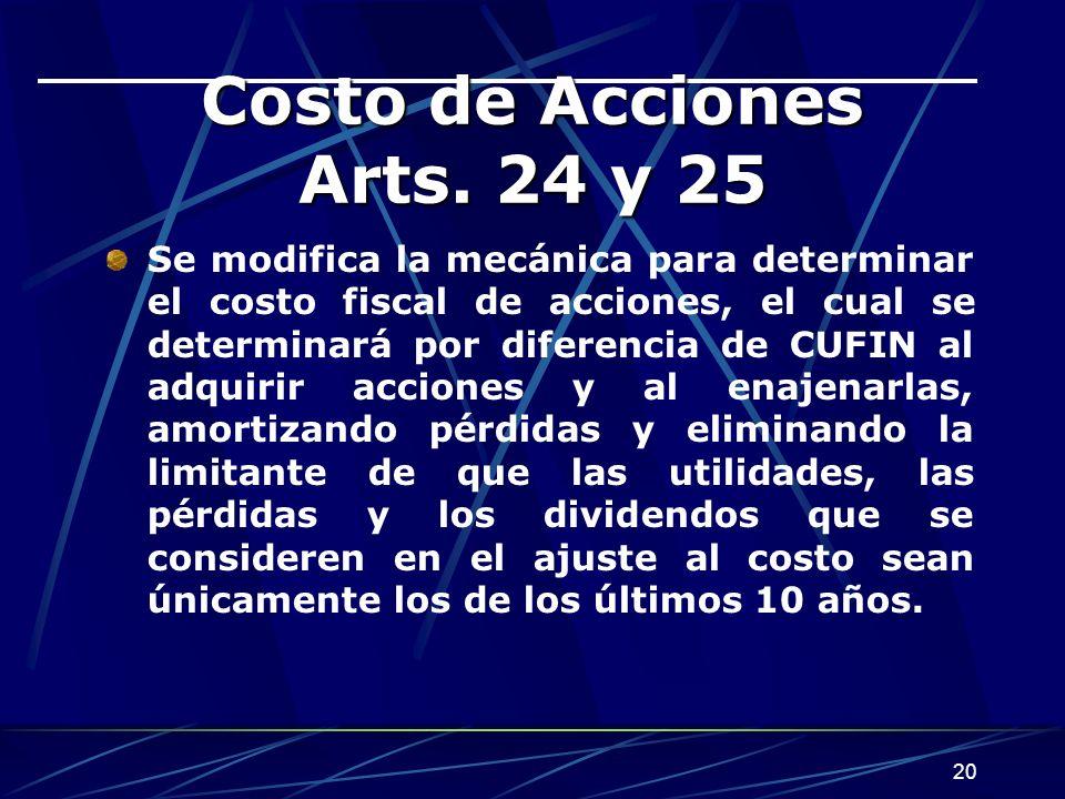 20 Costo de Acciones Arts.