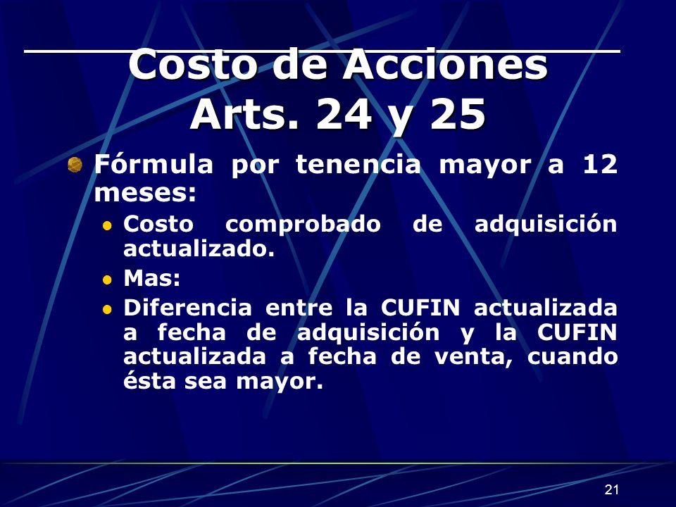 21 Costo de Acciones Arts. 24 y 25 Fórmula por tenencia mayor a 12 meses: Costo comprobado de adquisición actualizado. Mas: Diferencia entre la CUFIN