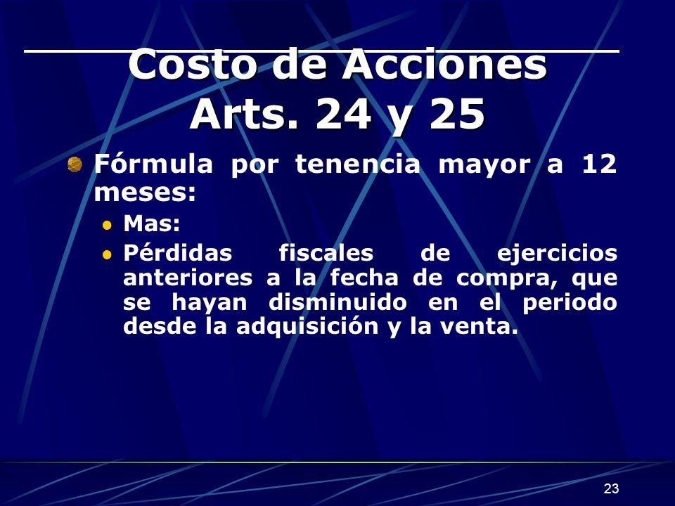 23 Costo de Acciones Arts.