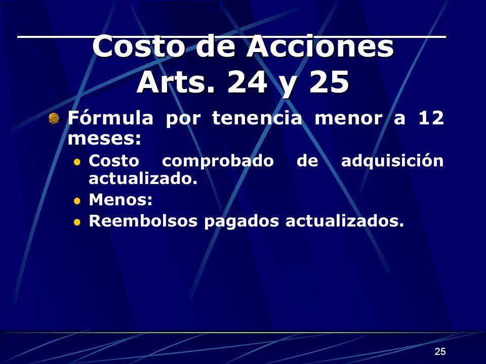 25 Costo de Acciones Arts.