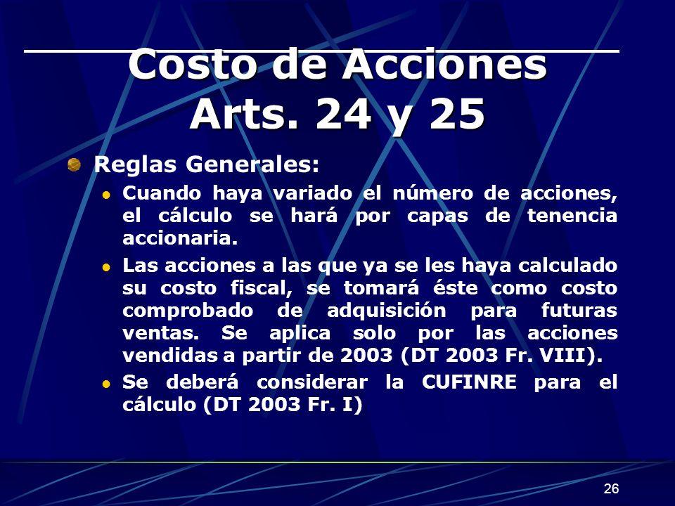 26 Costo de Acciones Arts.