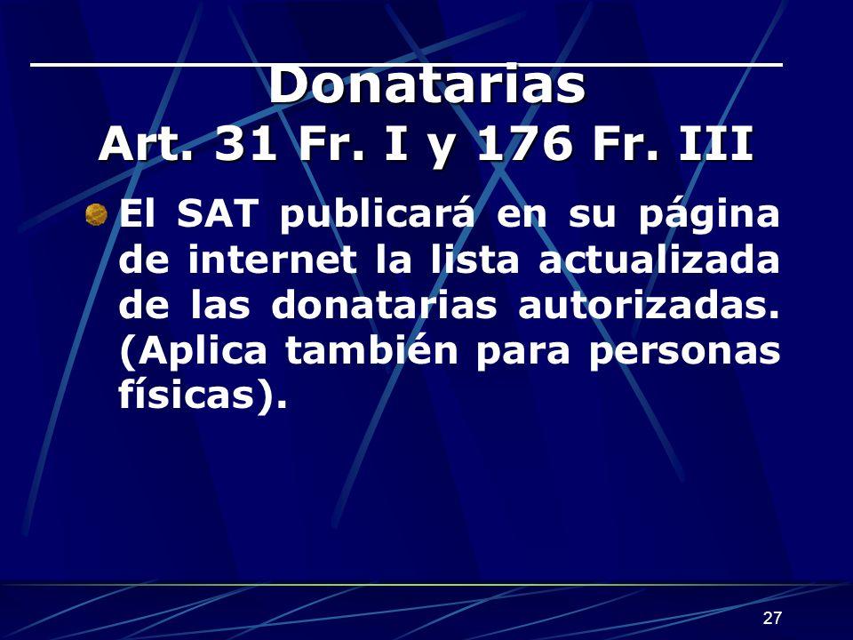 27 Donatarias Art.31 Fr. I y 176 Fr.
