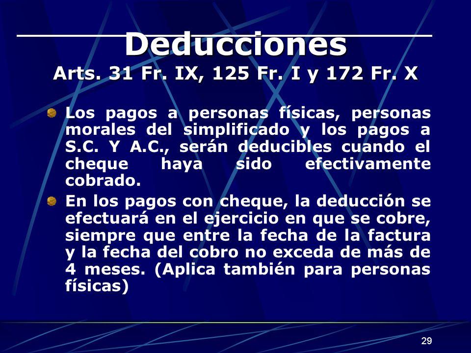 29 Deducciones Arts.31 Fr. IX, 125 Fr. I y 172 Fr.