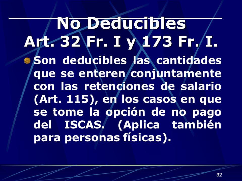 32 No Deducibles Art.32 Fr. I y 173 Fr. I.