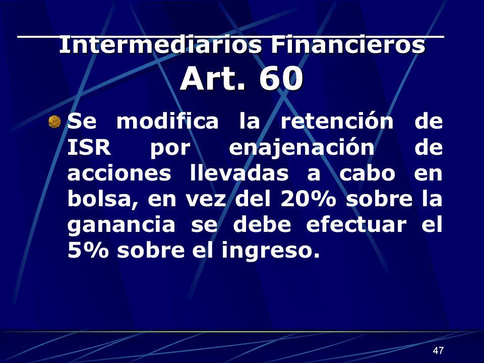 47 Intermediarios Financieros Art.