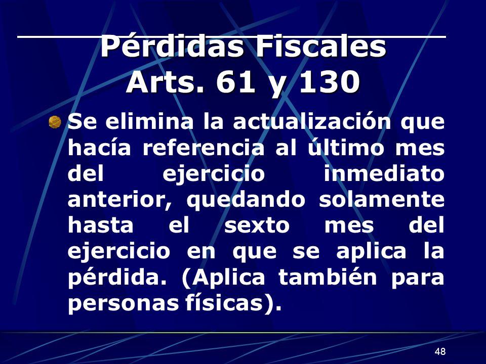 48 Pérdidas Fiscales Arts.