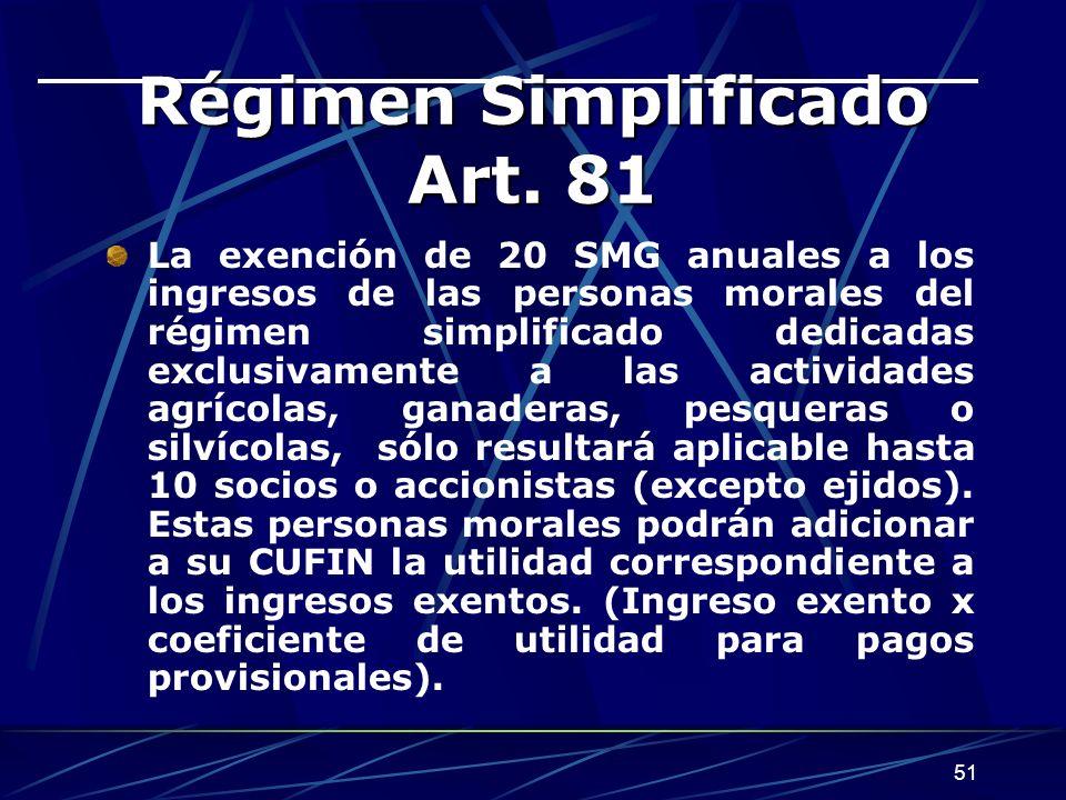 51 Régimen Simplificado Art. 81 La exención de 20 SMG anuales a los ingresos de las personas morales del régimen simplificado dedicadas exclusivamente