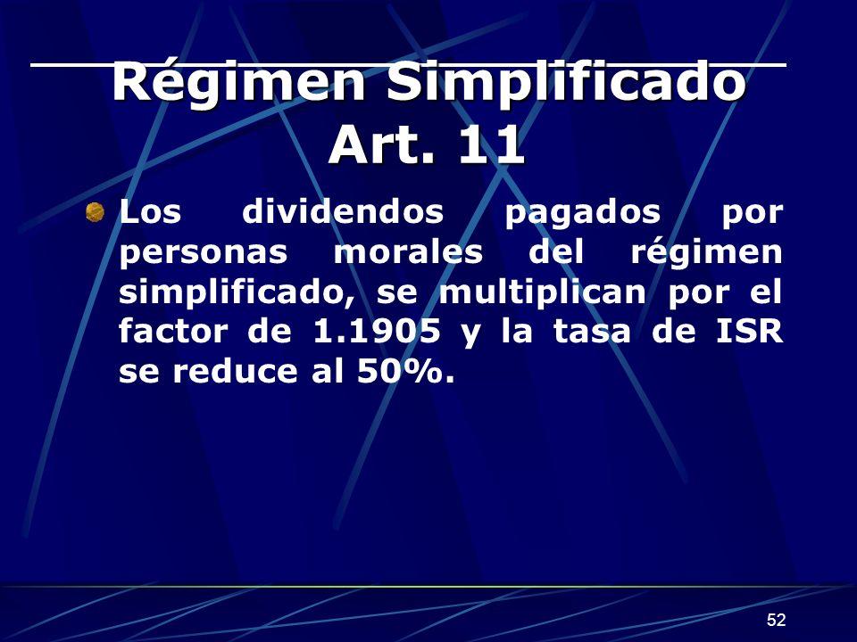 52 Régimen Simplificado Art.