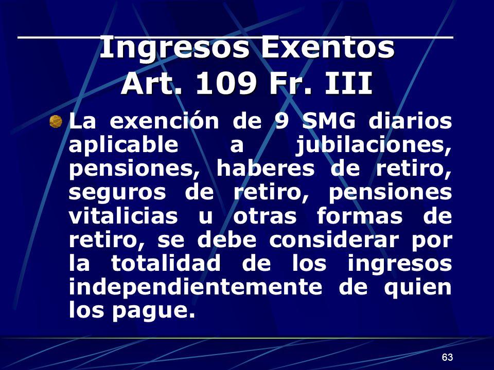 63 Ingresos Exentos Art.109 Fr.