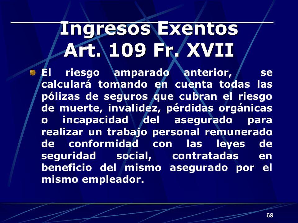 69 Ingresos Exentos Art.109 Fr.