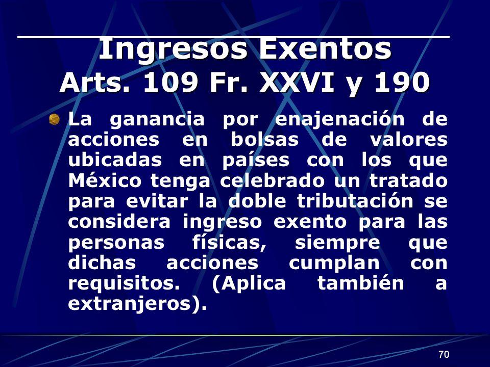 70 Ingresos Exentos Arts. 109 Fr. XXVI y 190 La ganancia por enajenación de acciones en bolsas de valores ubicadas en países con los que México tenga