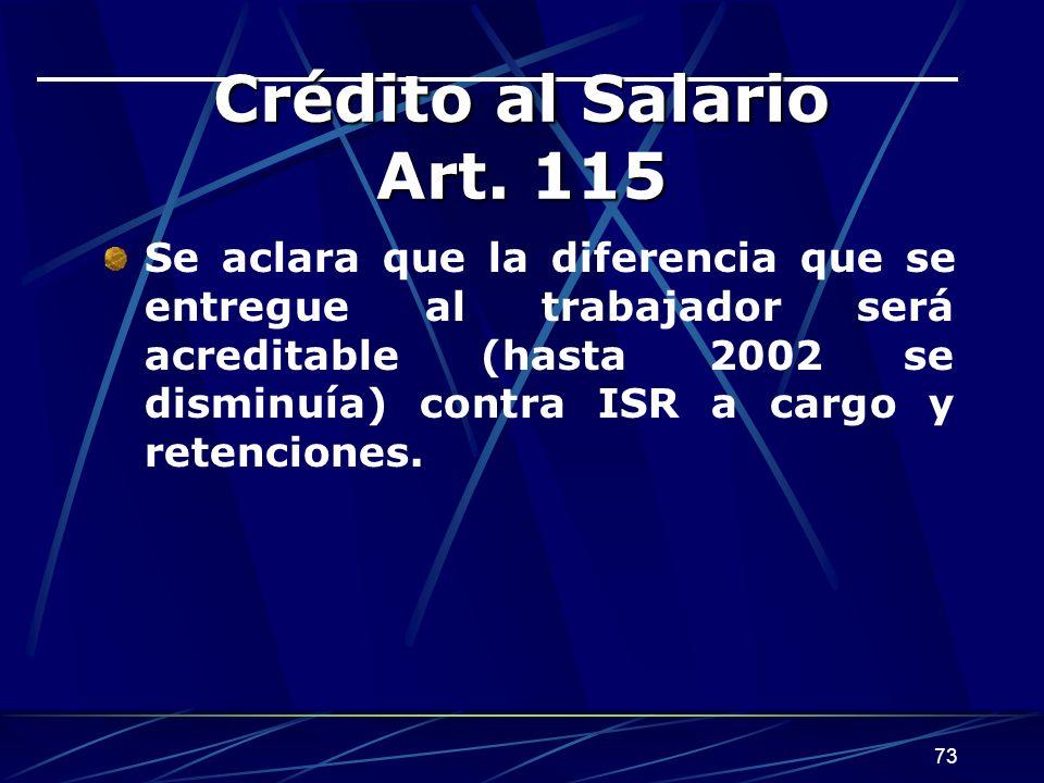 73 Crédito al Salario Art.