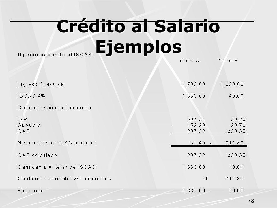 78 Crédito al Salario Ejemplos