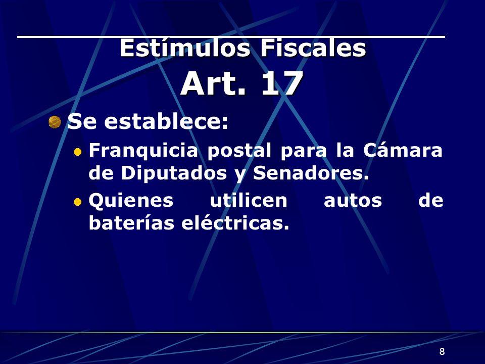 8 Estímulos Fiscales Art.