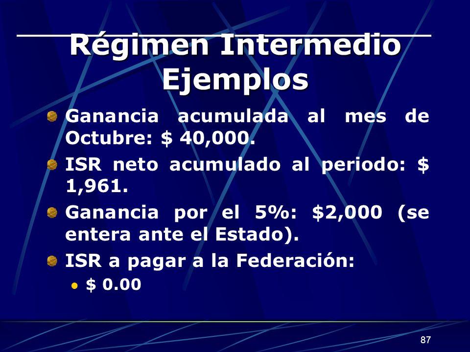 87 Régimen Intermedio Ejemplos Ganancia acumulada al mes de Octubre: $ 40,000.