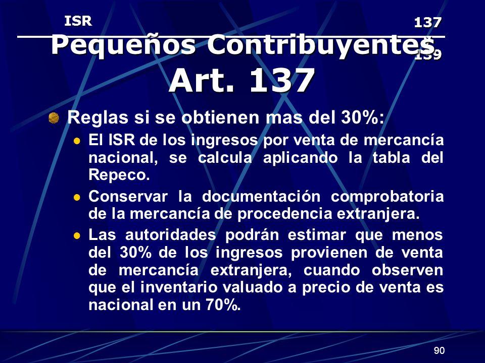 90 137 y 139 Pequeños Contribuyentes Art.