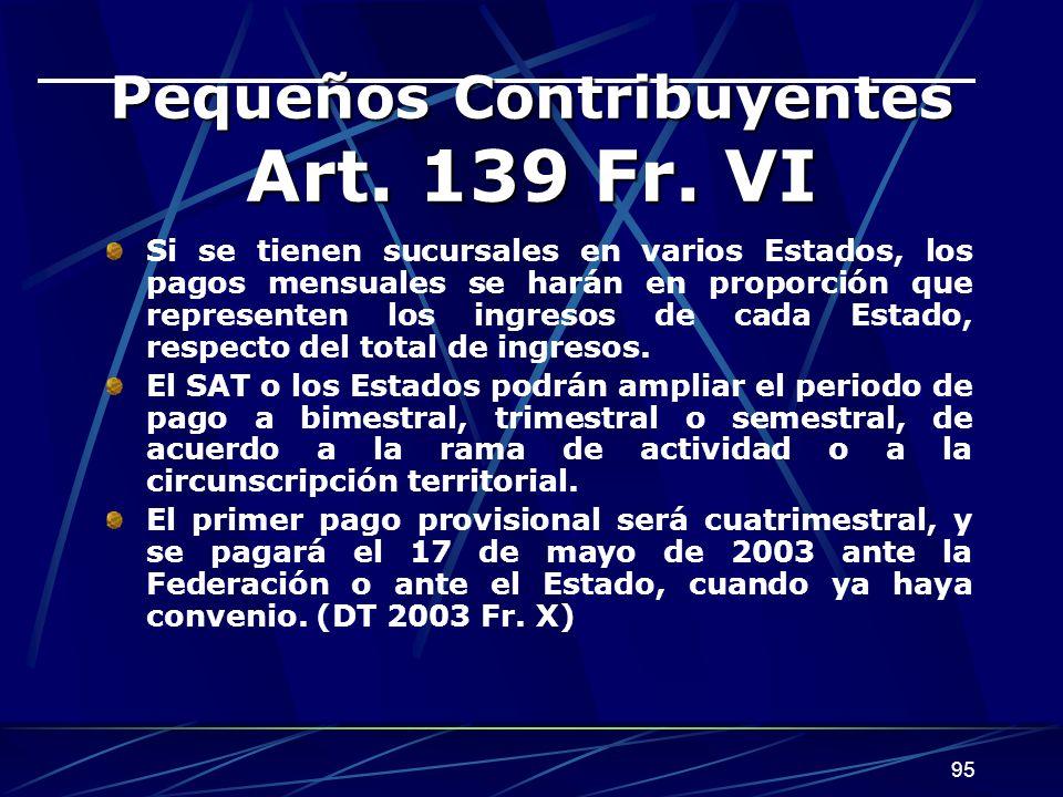 95 Pequeños Contribuyentes Art.139 Fr.
