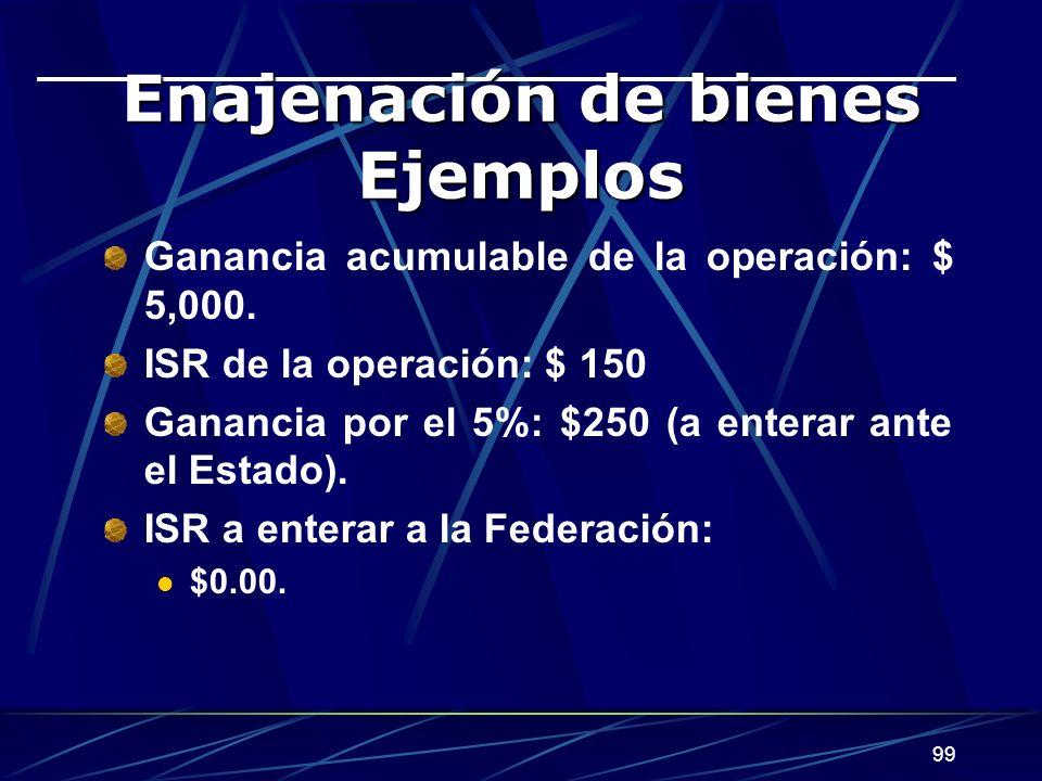 99 Enajenación de bienes Ejemplos Ganancia acumulable de la operación: $ 5,000. ISR de la operación: $ 150 Ganancia por el 5%: $250 (a enterar ante el