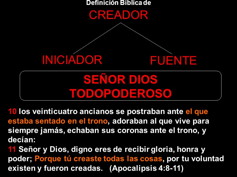 Definición Biblica de CREADOR INICIADOR FUENTE SEÑOR DIOS TODOPODEROSO 8 Cada uno de los cuatro seres vivientes tenía seis alas. Alrededor y por dentr