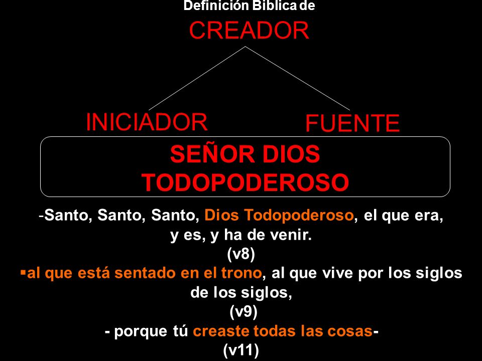 Definición Biblica de CREADOR INICIADOR FUENTE SEÑOR DIOS TODOPODEROSO 10 los veinticuatro ancianos se postraban ante el que estaba sentado en el tron