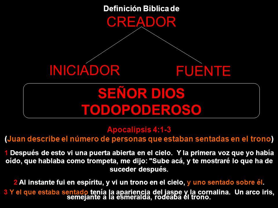 Definición Biblica de CREADOR INICIADOR FUENTE SEÑOR DIOS TODOPODEROSO El Dios Todopoderoso no era posible ser una Trinidad porque Jesus, el Cordero d